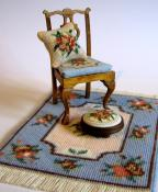 Doll's house scale needlepoint items (from the 'Alice (blue)' range) that you can make from kits - available from www.janetgranger.co.uk