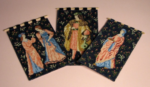 A trio of wallhangings on 22 count canvas, based on the Cluny tapestries
