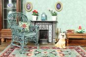 A doll's house room setting showing items from the 'Carole (jade)' range, available as kits from www.janetgranger.co.uk