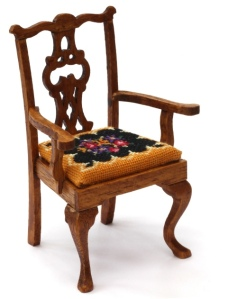 Berlin Woolwork doll's house dining chair - the kit comes with 32 count silk gauze, and the chair can be made up with or without the arms